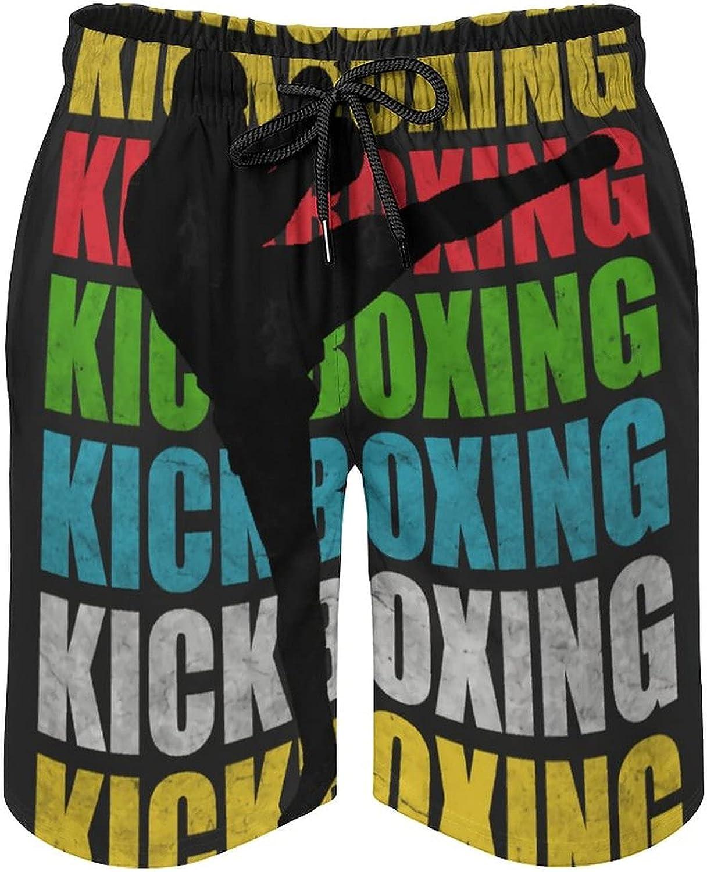 B&MAVIS Retro Kickboxing Men's Summer Quick Dry Swim Trunks Casual Board Shorts Beachwear for Boys Men