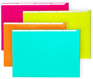 Filly Wink A4 Plastic Project Folders File Sleeve Translucent Paper Jacket 5 Pockets,4 Pack,Assorted Colors(Teal Blue,Lime Green,Orange,Fuchsia Pink)