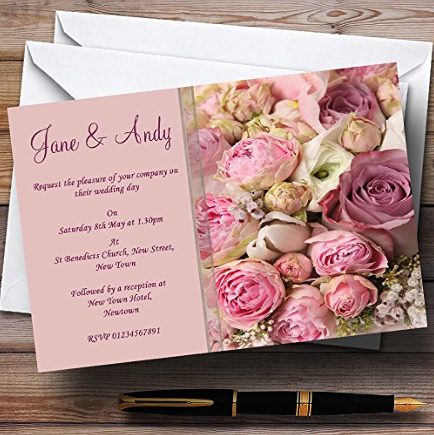 Absolutely Beautiful Pink Flowers Personalised Wedding Stationery Invitations   Invites & Envelopes