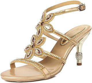 862fa0e519f69 LLBubble Stiletto Heels Rhinestone Strap Wedding Bridal Sandals Open Toe  Buckle Prom Evening Formal Party Ladies