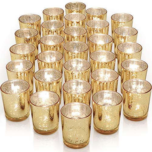 Letine Gold Votive Candle Holders Set of 36 - Speckled Mercury Gold Glass Candle Holder Bulk - Ideal for Wedding Centerpieces & Home Decor…