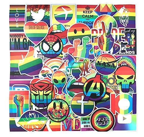 Cute Trendy VSCO Rainbow Water Bottle Stickers Pack 100 Pcs Waterproof Vinyl Decals for Teens Girls Laptop Suitcase Bumper Helmet Ipad Car Luggage Hydro Flask Skateboard Computer