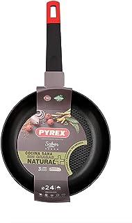 Pyrex 7914018 Sartén de aluminio, 24cm, Inducción, relieve en el fondo, Antiadherente tricapa, Mango ergonómica, Estampado