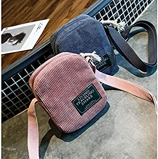 YKDY Shoulder Bag Corduroy Messenger Bag Fashion Plush Ladies Handbag Small Square Bag Mobile Phone Bag (Black) (Color : Pink)