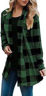 Womens Buffalo Plaid Cardigans Long Sleeve Elbow Patch Draped Open Front Cardigan Shirt