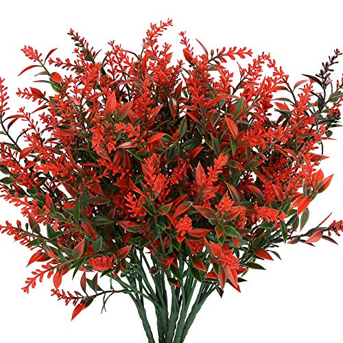 KLEMOO Artificial Lavender Flowers Plants 6 Pieces, Lifelike UV Resistant Fake Shrubs Greenery Bushes Bouquet to Brighten up Your Home Kitchen Garden Indoor Outdoor Decor(Orange Red)