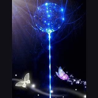 MALLCAS-Home Decor Reusable Luminous Led Balloon Transparent Round Bubble Decoration Party Wedding Mallcat Glowing Balloon with Tube