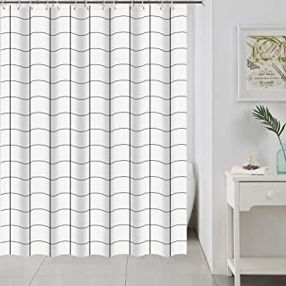 Uphome PEVA Shower Curtain Liner Black and White Plaid Check Geometric Waterproof and Durable Vinyl Shower Curtains Eco-Friendly Bathroom Decor,Rust Proof Grommets,72