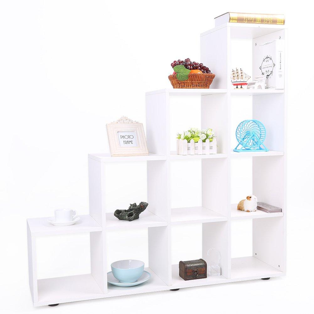 Cubo estantería para libros, de madera Escalera estantería de almacenamiento organizador unidad de pantalla libre de pie, tablero de partículas, Blanco, 10 Cubes: Amazon.es: Hogar