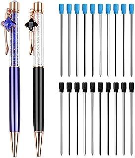 meetory 20pcs 0,7mm bolígrafo recargas para Diamond Crystal lápiz capacitivo bolígrafos, 2pcs Bling Bling cristales diamantes bolígrafo retráctil de punta
