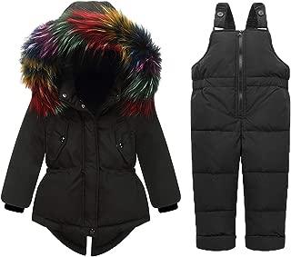 Baby Girls Winter Warm 2pcs Fur Trim Hooded Puffer Down Jacket Snowsuit+Snow Ski Bib Pants Set Outfits