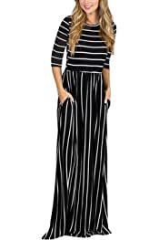 81a90e1502 HOTAPEI Women s Summer Casual Loose Striped Long Dress Short Sleeve Pocket  Maxi Dress