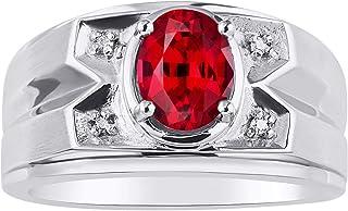 خاتم رجالي من RYLOS مرصع بأحجار كريمة بيضاوية الشكل وألماس لامع أصلي من الفضة الإسترلينية عيار 925-8×6 مم لون ستون