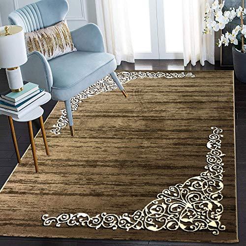 Siela Teppich Wohnzimmer Braun,Kurzflor Teppich, Teppiche Für Schlafzimmer, Küche Läufer Flur, Modern Deko Esszimmer, Hochwertig (80 x 150 cm)