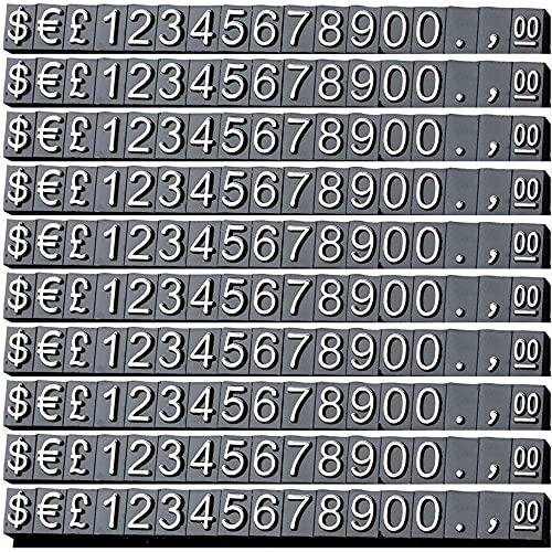 feedal Etiquetas de precios Cubos de visualización de precios ajustables Número contador Soporte etiqueta precio venta bloques 170 piezas para joyería reloj anillo dólar precio show kit, negro
