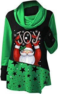 Christmas Women Joy Santa Claus Print Tops Sweatshirt High Collar Blouse T-Shirt