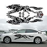xj Car Styling Ferozmente Wolf Totem Etiqueta Engomada del Coche Auto Body Side Lobo de la Etiqueta Engomada del Vinilo Decorativo Etiqueta de La Personalidad (Negro)