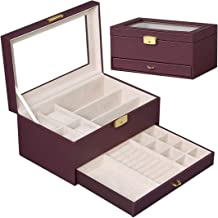 Jewelry Organizer Box with Glass Top,Lockable Mens Jewelry Box, Watch Box with Jewelry Drawer for Men or Women(Brown)