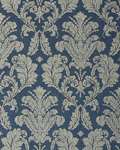 3D Barock-Tapete Vintage EDEM 752-37 Luxus Neo Klassik Tapete Ornament geprägt damask blau platin