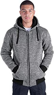 Heavyweight Hoodies for Men Full Zip Up Sherpa Lined Winter Warm Sweatshirts Big and Tall Jacket Coats Plus Size S-5XL