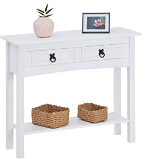 IDIMEX Table Console Rural Table d'appoint rectangulaire en pin Massif Blanc avec 2 tiroirs et 1 étagère, Meuble d'entrée ...