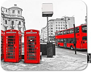 Mugod London City Mouse Pad Double-Decker Bus Telephone Boxes Red Grey Black White Mouse Mat Non-Slip Rubber Base Mousepad for Computer Laptop PC Gaming Working Office & Home 9.5x7.9 Inch