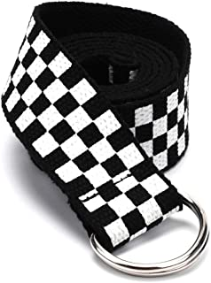 Hip Hop Checkered Black White Long Belt Women Men Waist Belt Rave Festival Club