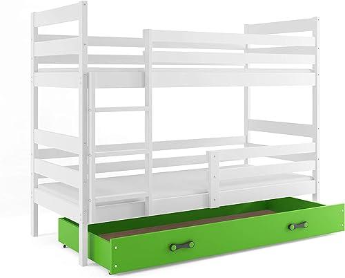 Interbeds Etagenbett Eryk 190x80cm Farbe  Weiß aus Kiefernholz; mit Lattenroste und Matratzen (Weiß + Größe Schublade)