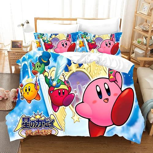 HHYT-YJ Juego de ropa de cama infantil 3D con dibujos animados Kirby, funda nórdica de 135 x 200 cm y 1 funda de almohada de 80 x 80 cm, microfibra, 2 unidades (KTT-2,200 x 200 cm + 2 x 50 x 75 cm)
