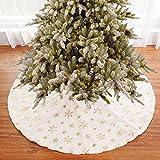 Arbol De Navidad Falda, Blanca Felpa Arbol Falda,con Copo Nieve, para Decoración Fiesta Año Nuevo Vacaciones Navidad (122cm),Gold