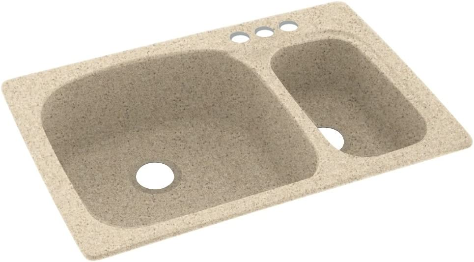 Swanstone KS03322LS.040-3 Free Shipping Cheap Bargain Gift 3-Hole Solid Kitchen Sink Surface 2021 new 33