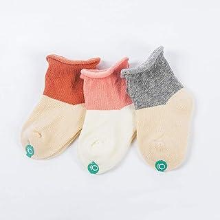 Elanpu, Primavera Y Otoño Calcetines de Algodón para Bebés Calcetines Sueltos de Dibujos Animados de Algodón 3 Piezas,