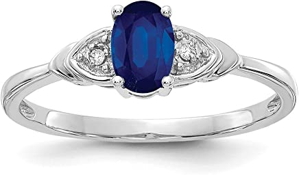 14k White Gold Sapphire Diamond Band Ring Size 7.00 Stone Birthstone September Fine Jewelry Gifts For Women For Her