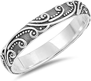 Sterling Silver Round Diamond Black And White Heart Promise Ring 0.10 cttw