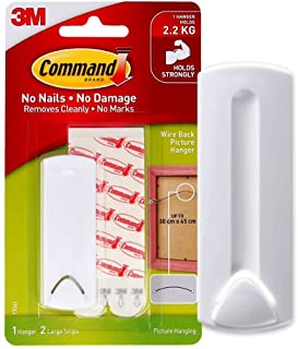 Command 17041 Wire backed picture Hanger, Holds 2.2 Kg each hook, white color. 1 hanger and 2 strips/pack, Decorate Damag...