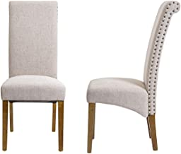 Merax Dining Chair Set of 2 Fabric Padded Side Chair with Solid Wood Legs, Nailed Trim(Beige)