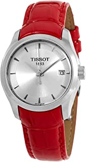 Tissot Couturier Quartz Silver Dial Red Leather Ladies Watch T035.210.16.031.01
