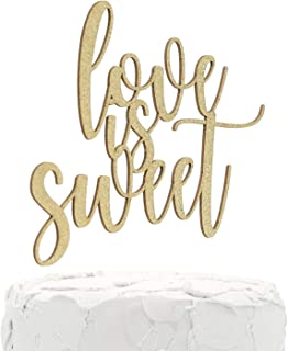 NANASUKO Sweet Table Cake Topper - love is sweet - Double Sided Gold Glitter - Premium quality Made in USA