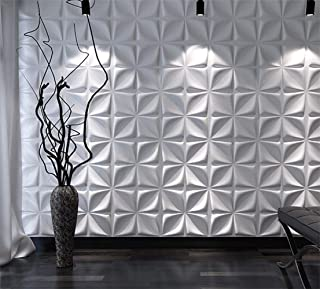 Art3d Decorative 3D Wall Panels Textured 3D Wall Covering, White, 12 Tiles 32 Sq Ft