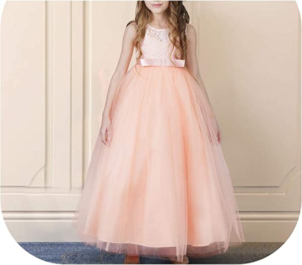 Girls Dress For Exquisite Pink Long Lace Tulle Wedding Dresses Teens Kids Graduation Costume Girl Childrens Clothing Pink 2 7