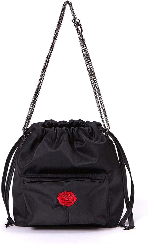 SAMOONDOH Women's Black pink Shoulder Bucket Bag