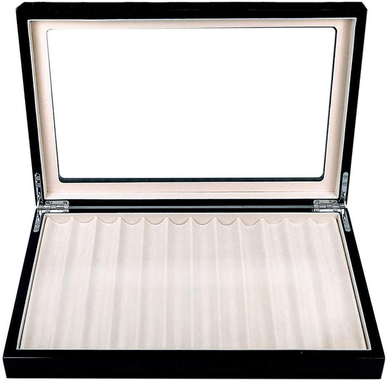 Stiftebox aus Holz mit Schaufensterbox für 12 Schwarze Stifte