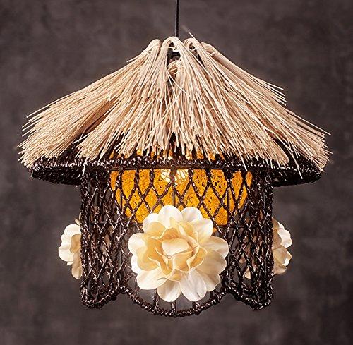 Creative Wood Garden Lustre Paille ronde Restaurant Étude Chambre Simple Lustres