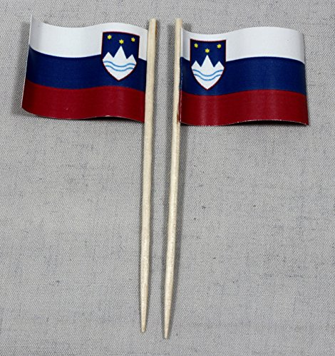 Buddel-Bini Party-Picker Flagge Slowenien Papierfähnchen in Spitzenqualität 50 Stück Beutel