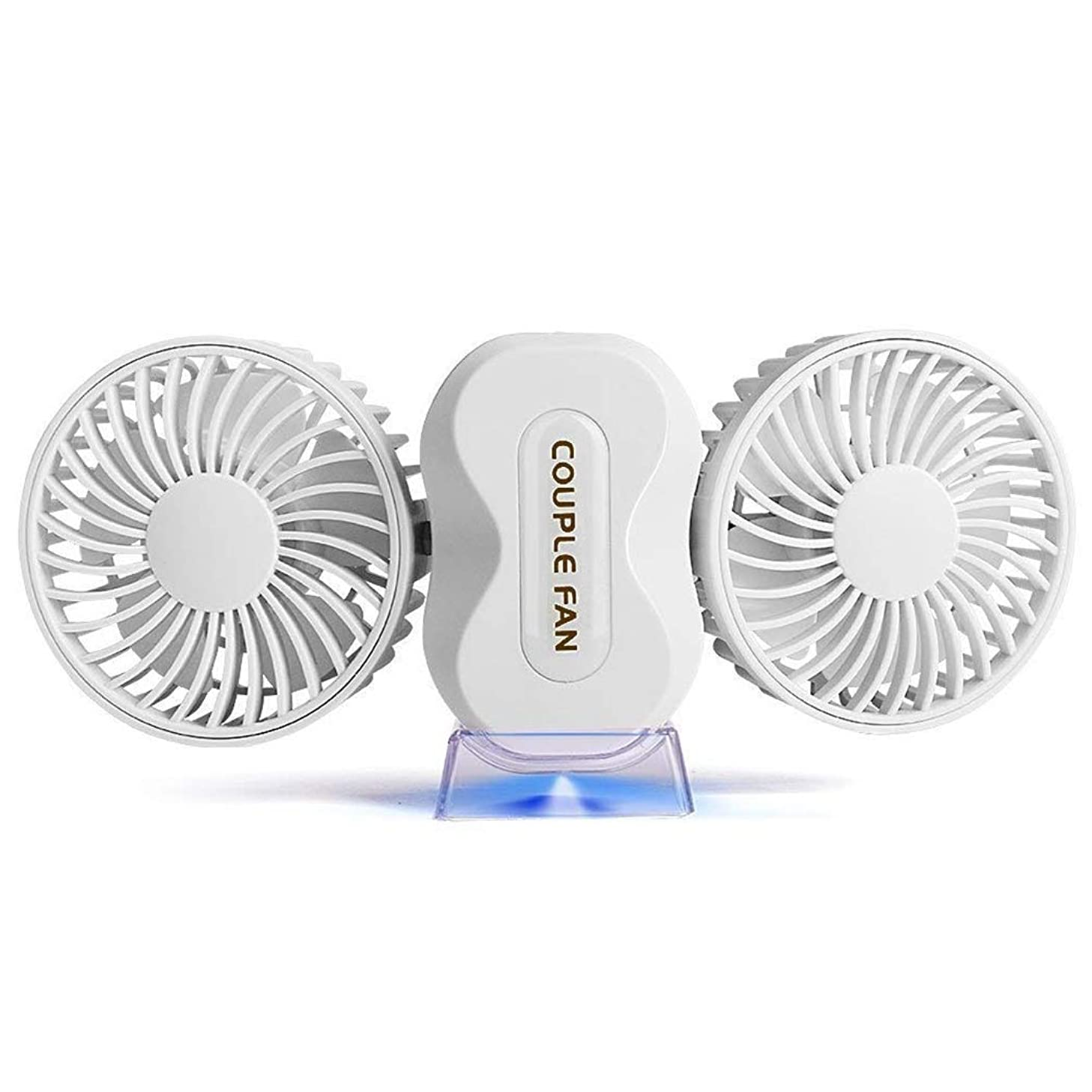 MUTANG Portable Mini USB Fan Table Desk Fan Dual Head Car Fan with 3 Speed, Quiet Powerful Cooling Fan for Home Office Camping Travel Car