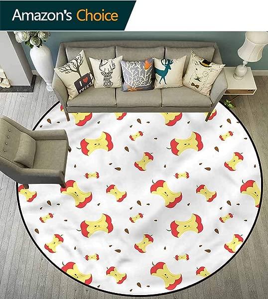 橄榄球苹果小圆地毯每日食用水果维生素适合任何房间地板地毯直径 24
