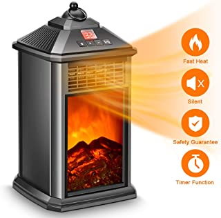 Electric Heater - Portable Fireplace Heater with Remote, Space Heater for Home Office Indoor Use, Electric Heater 800W with Adjustable Thermostat Ceramic, Tip-Over & Overheat Protection