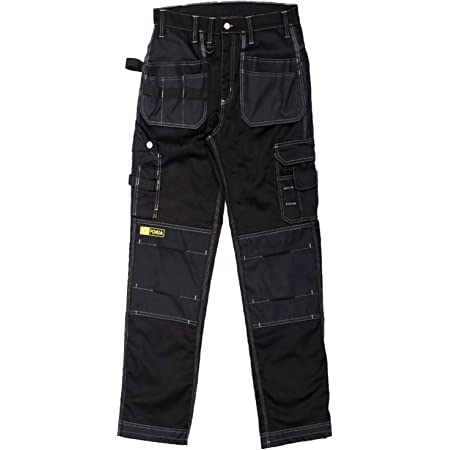 Forja Work Trousers Men - Heavy Cargo Trouser Men with Holster and Knee Pad Pockets. Black Combat Trousers for Men. Ideal for all Trade Works, Builders, & Gardening. Workwear Pants Multi Pockets