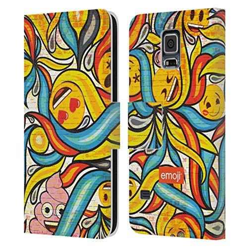 Head Case Designs Oficial Emoji Arte de Pared Grafiti Carcasa de Cuero Tipo Libro Compatible con Samsung Galaxy S5 / S5 Neo