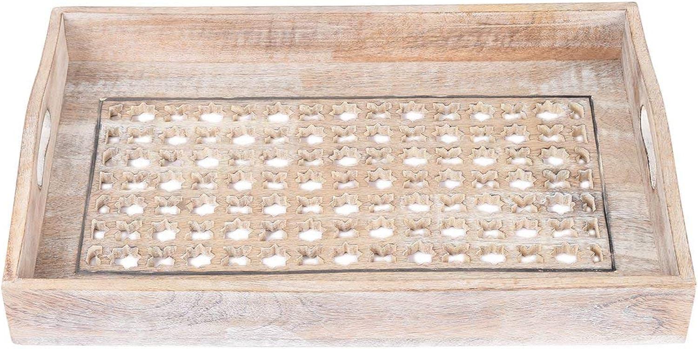 Plateau de service - Grand plat décoratif en bois - Fait à la main Mugali Jali Design avec poignées - Thé Snack Dessert Parcravates